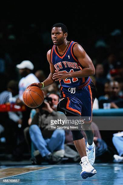 Charlie Ward of the New York Knicks during the game against the Charlotte Hornets on January 24 2001 at Charlotte Coliseum in Charlotte North Carolina
