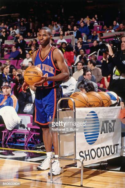Charlie Ward of the New York Knicks looks on during the three point contest as part of NBA AllStar Weekend on February 7 1998 at Madison Square...