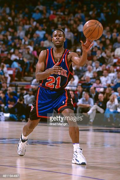 Charlie Ward of the New York Knicks passes circa 1998 at Arco Arena in Sacramento California NOTE TO USER User expressly acknowledges and agrees that...