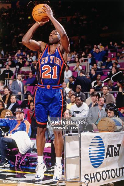 Charlie Ward of the New York Knicks shoots during the three point contest as part of NBA AllStar Weekend on February 7 1998 at Madison Square Garden...