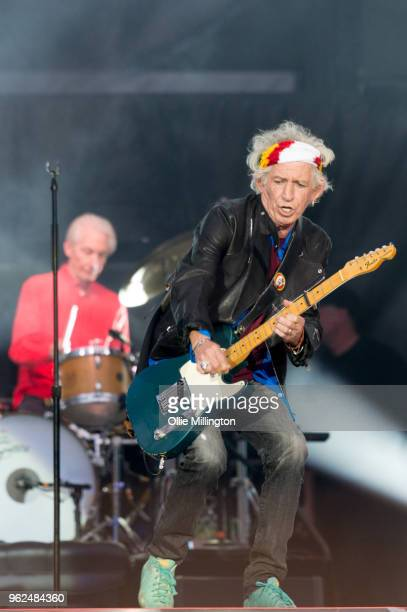 Charlie Watts and Keith Richards of The Rolling Stones perform live on stage during the 'No Filter' tour at The London Stadium on May 25 2018 in...