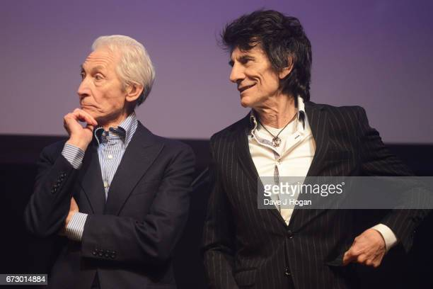 Charlie Watts and Ronnie Wood of The Rolling Stones accept the award for Album Of The Year Public Vote for their album 'Blue Lonesome' at the Jazz FM...