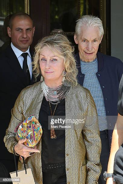 Charlie Watts and wife Shirley Ann Shepherd leave the 'Meurice' hotel on June 13 2014 in Paris France