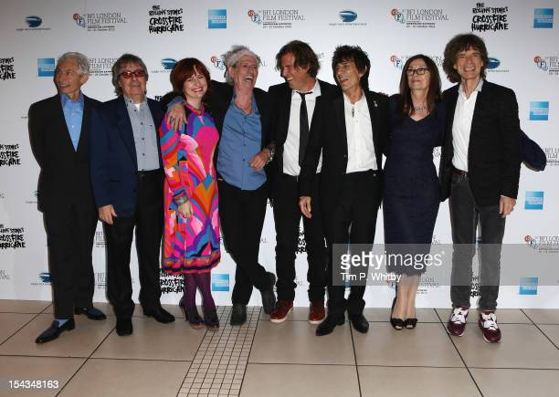 Charlie Watts Bill Wyman festival director Clare Stewart Keith Richards director Brett Morgen Ronnie Wood producer Victoria Pearman and Mick Jagger...