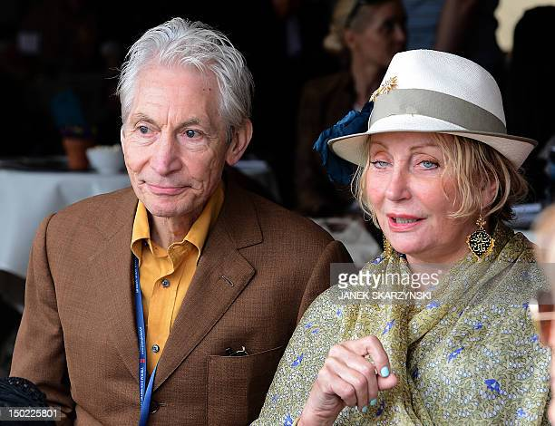 Charlie Watts drummer of The Rolling Stones and his wife Shirley watch presentation of horses during Pride of Poland Arabian Horse sale in Janow...