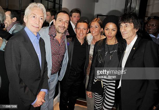 Charlie Watts Guido Campigotto Frankie Dettori Catherine Dettori Ana Araujo and Ronnie Wood attend the launch of jockey Frankie Dettori's new...