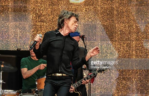 Charlie Watts Keith Richards and Mick Jagger of The Rolling Stones perform on stage at British Summer Time Festival at Hyde Park on July 13 2013 in...