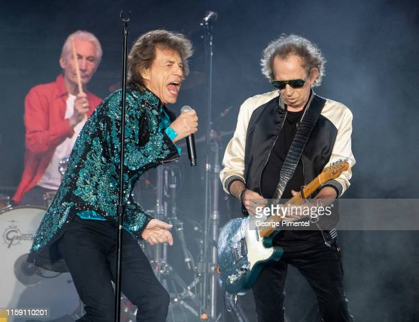 Charlie Watts Mick Jagger and Keith Richards perform onstage as The Rolling Stones perform for the North American run of their 'NO FILTER' Tour at...