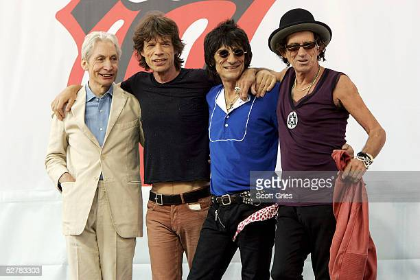 Charlie Watts Mick Jagger Ron Wood and Keith Richards of The Rolling Stones pose for a photo during a press conference to announce a world tour at...