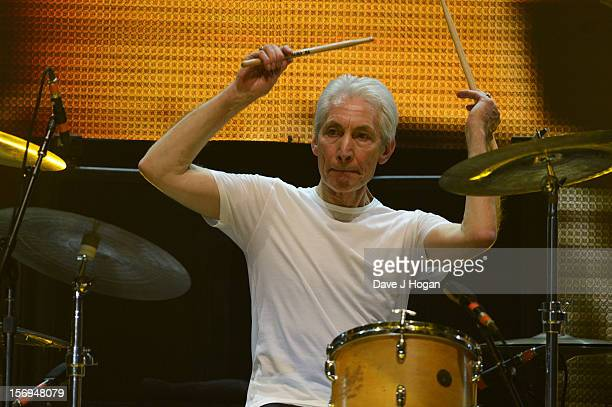 Charlie Watts of the Rolling Stones performs at 02 Arena on November 25 2012 in London England