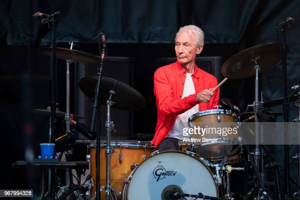 Charlie Watts of The Rolling Stones performs live on stage at Old Trafford on June 5 2018 in Manchester England