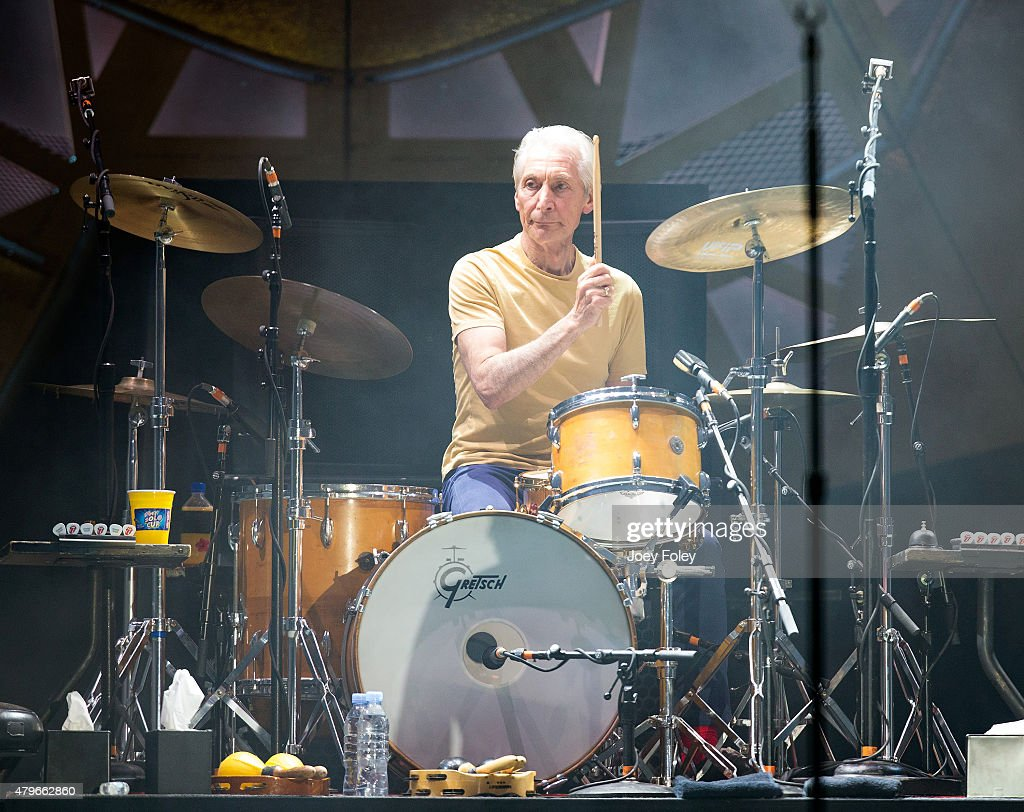 Charlie Watts of The Rolling Stones performs live onstage at The Indianapolis Motor Speedway on July 4, 2015 in Indianapolis, Indiana.