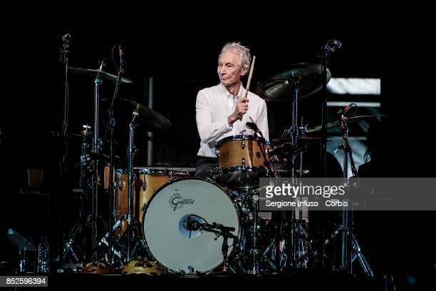 Charlie Watts of The Rolling Stones performs on stage during Lucca Summer Festival 2017 on September 23 2017 in Lucca Italy