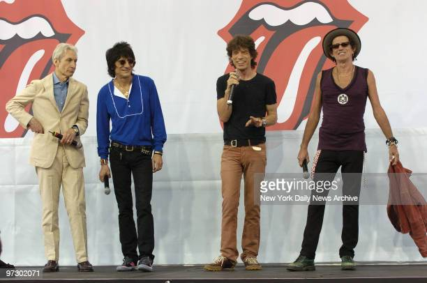 Charlie Watts Ron Wood Mick Jagger and Keith Richards attend a news conference at Lincoln Center to announce a Rolling Stones' world tour in support...