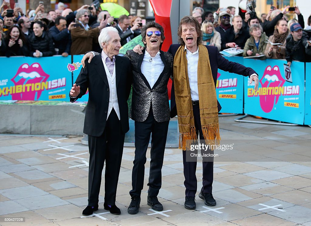 Charlie Watts, Ronnie Wood and Mick Jagger arrive for the private view of 'The Rolling Stones: Exhibitionism' at the Saatchi Gallery on April 4, 2016 in London, England.