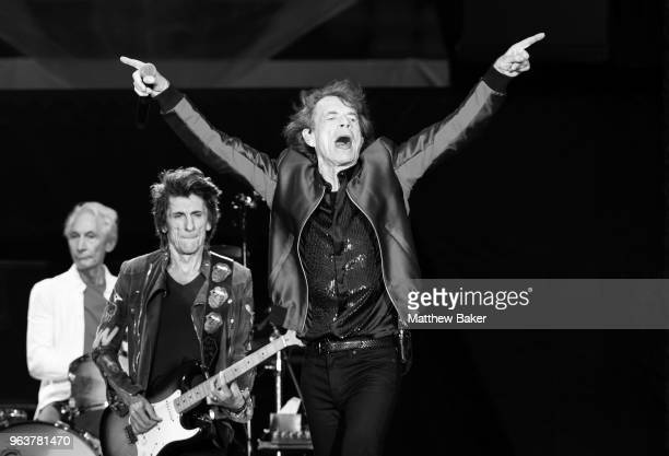 Charlie Watts Ronnie Wood and Mick Jagger of the Rolling Stones perform live on stage at St Mary's Stadium on May 29 2018 in Southampton England