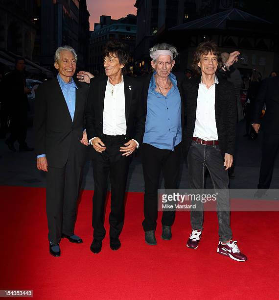 Charlie Watts Ronnie Wood Keith Richards and Mick Jagger of the Rolling Stones attend the Premiere of 'Crossfire Hurricane' during the 56th BFI...