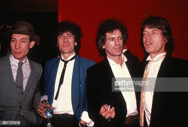 Charlie Watts Ronnie Wood Keith Richards and Mick Jagger of The Rolling Stones circa 1983 in New York City