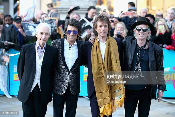 Charlie Watts Ronnie Wood Mick Jagger and Keith Richards arrive for the private view of 'The Rolling Stones Exhibitionism' at the Saatchi Gallery on...
