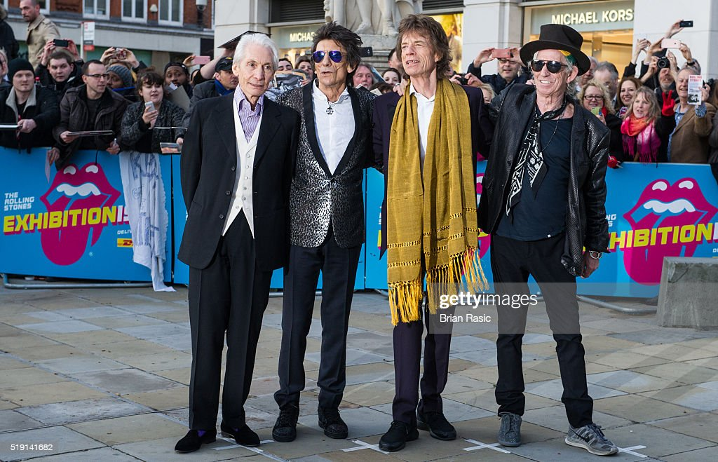 Charlie Watts, Ronnie Wood, Mick Jagger and Keith Richards arrive for the private view of 'The Rolling Stones: Exhibitionism' Saatchi Gallery on April 4, 2016 in London, England.