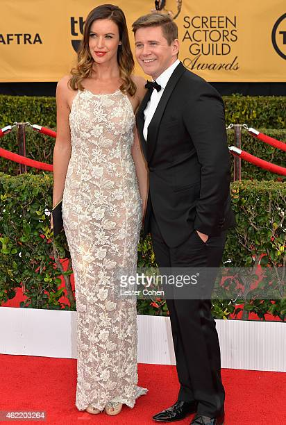 Charlie Webster and actor Allen Leech attend the 21st Annual Screen Actors Guild Awards at The Shrine Auditorium on January 25 2015 in Los Angeles...