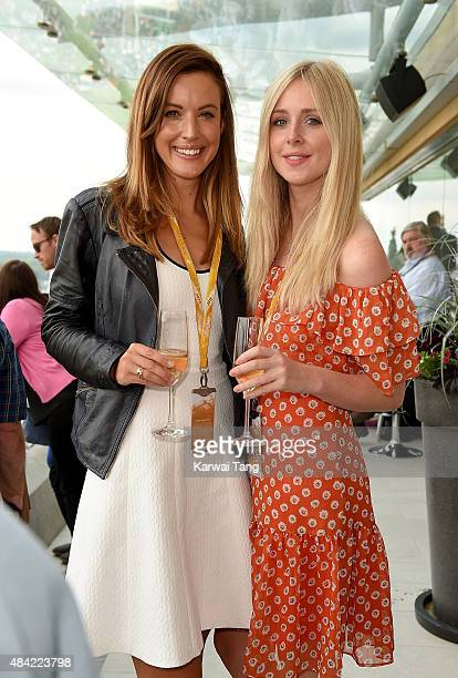 Charlie Webster and Diana Vickers attend the Red Bull Air Race World Championships at Ascot Racecourse on August 16 2015 in Ascot England