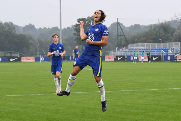 Charlie Webster of Chelsea celebrates scoring the first goal during the Chelsea v Zenit St Petersburg UEFA Youth League match on September 14th, 2021...