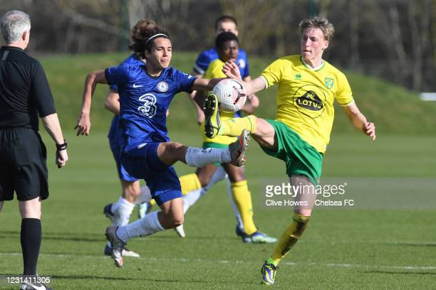 Charlie Webster of Chelsea challenges for the ball during the Norwich City v Chelsea U18 Premier League match on February 27, 2021 in Norwich,...