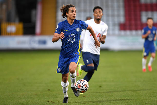Charlie Webster of Chelsea runs with the ball during the Tottenham Hotspur v Chelsea Premier League 2 match at The Lamex Stadium on August 16, 2021...