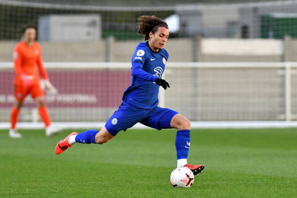 Charlie Webster of Chelsea runs with the ball during the West Ham United v Chelsea - Premier League 2 match at Rush Green on April 6, 2021 in...