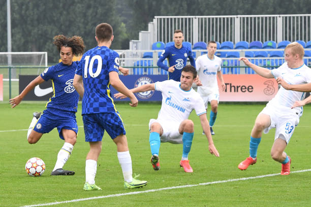 Charlie Webster of Chelsea scores chelseas first goal during the Chelsea v Zenit St Petersburg UEFA Youth League match on September 14th, 2021 in...