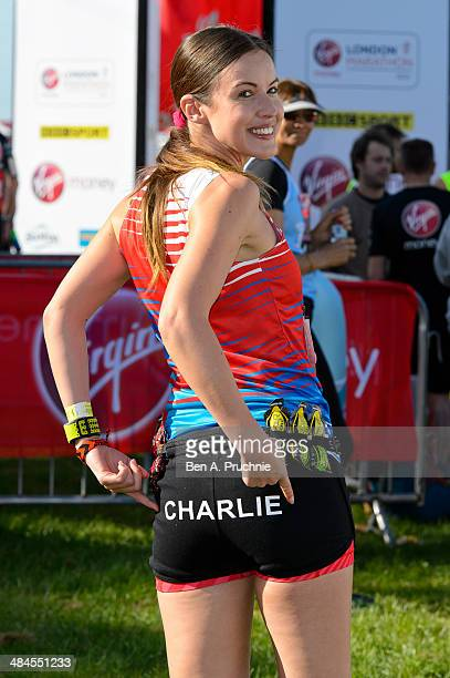 Charlie Webster poses for photographs ahead of the Virgin Money London Marathon on April 13 2014 in London England