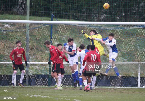 Charlie Wellens, Marc Jurado, Dillon Hoogewerf of Manchester United U18s in action during the U18s Premier League match between Blackburn Rovers U18s...