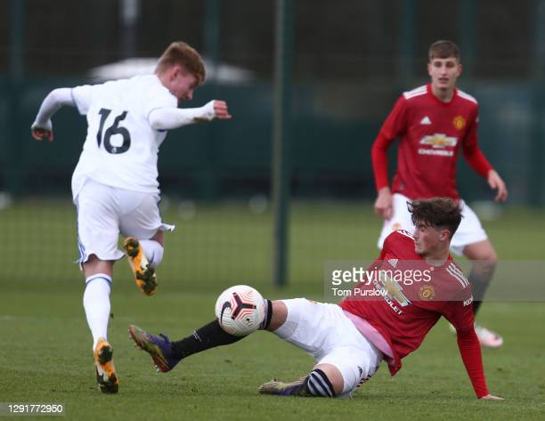 Charlie Wellens of Manchester United U18s in action during the U18 Premier League match between Manchester United U18s and Leeds United U18s at Aon...