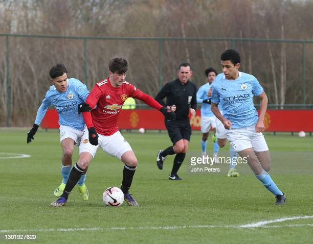 Charlie Wellens of Manchester United U18s in action during the U18 Premier League match between Manchester United U18s and Manchester City U18s at...