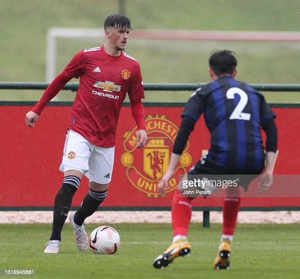 Charlie Wellens of Manchester United U18s in action during the U18 Premier League match between Manchester United U18s and Middlesbrough U18s at Aon...