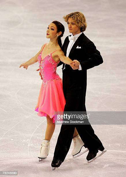 Charlie White and Meryl Davis compete in the compusory dance portion of the ice dancing competition during the ISU Four Continents Figure Skating...