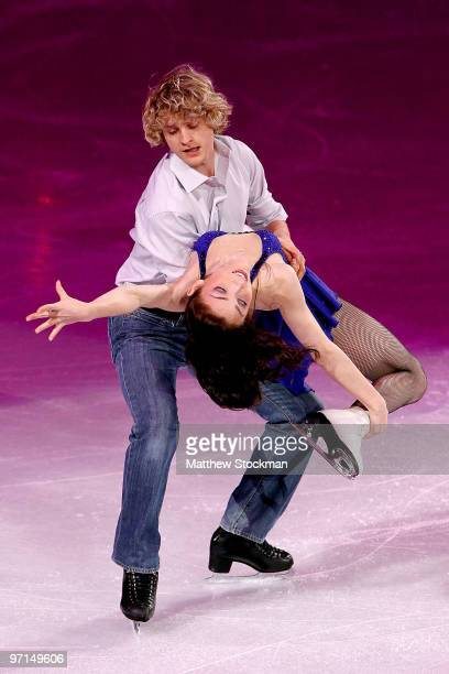 Charlie White and Meryl Davis of the United States perform at the Exhibition Gala following the Olympic figure skating competition at Pacific...