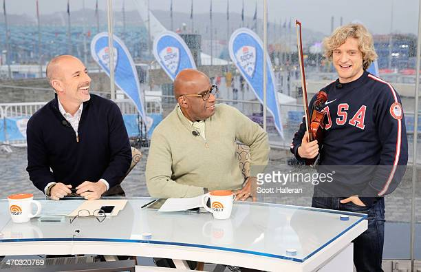 Charlie White of the USA visits Matt Lauer and Al Roker on the set of the NBC TODAY Show in the Olympic Park during the Sochi 2014 Winter Olympics on...