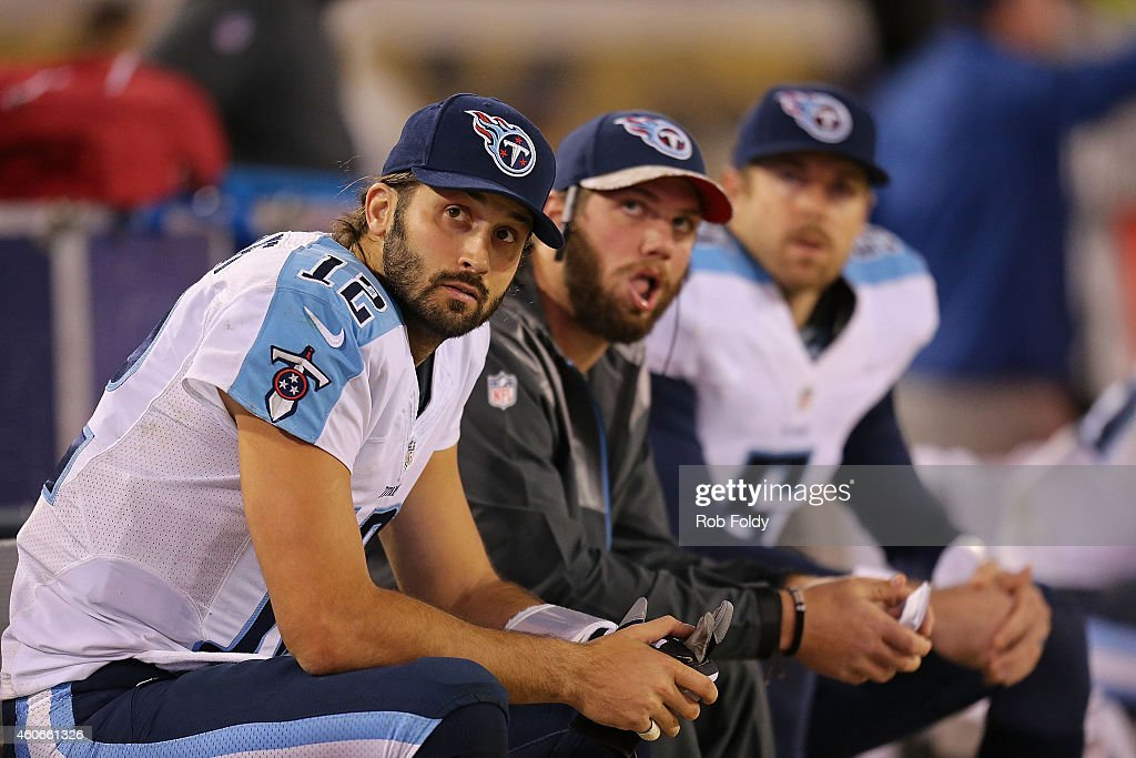 Charlie Whitehurst #12; Zach Mettenberger #7 and Jordan Palmer #5 of the Tennessee Titans look on during the game against the Jacksonville Jaguars at EverBank Field on December 18, 2014 in Jacksonville, Florida.