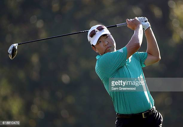 Charlie Wi of Korea plays his shot from the fifth tee during the Second Round of the Sanderson Farms Championship at the Country Club of Jackson on...