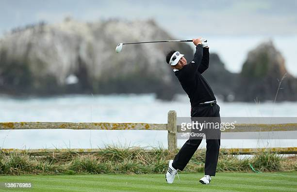 Charlie Wi of South Korea hits his tee shot on the 18th hole during the second round of the ATT Pebble Beach National ProAm at Pebble Beach Golf...