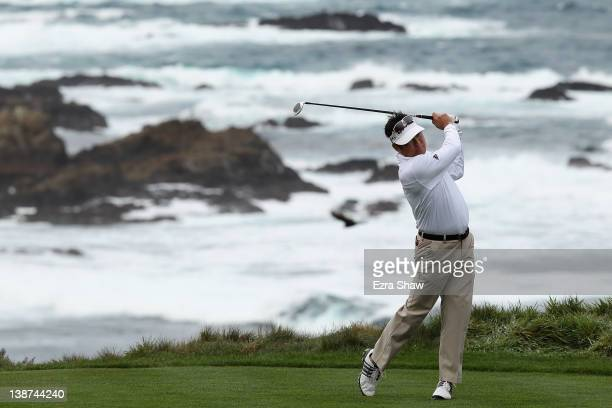 Charlie Wi of South Korea hits his tee shot on the third hole during the third round of the ATT Pebble Beach National ProAm at the Spyglass Hill Golf...