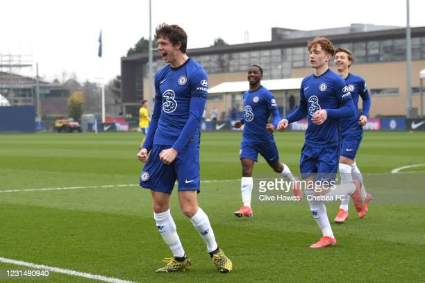 Charlie Wiggett of Chelsea celebrating his goal during the Chelsea v Brighton U18 Premier League match on March 3, 2021 in Cobham, England.