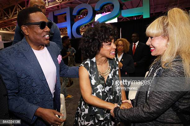 Charlie Wilson Amirah Vann and Mahin Wilson attend Day 2 of the 2016 Essence Festival at Ernest N Morial Convention Center on July 1 2016 in New...
