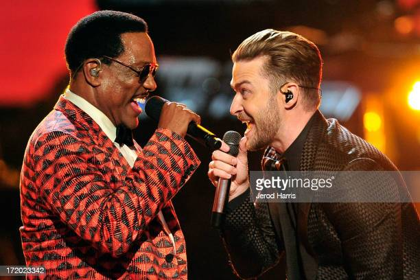 Charlie Wilson and Justin Timberlake perform during the 2013 BET Awards at Nokia Plaza LA LIVE on June 30 2013 in Los Angeles California