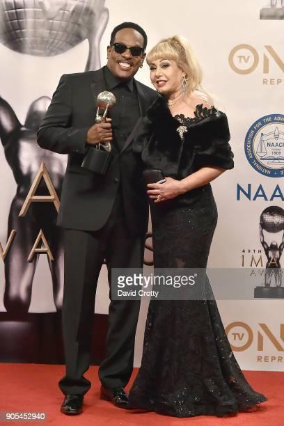 Charlie Wilson and Mahin Wilson attend the 49th NAACP Image Awards Press Room at Pasadena Civic Auditorium on January 15 2018 in Pasadena California