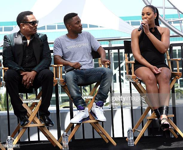 Charlie Wilson Kendrick Lamar and Tamar Braxton attend the BET Awards 2013 Press Conference at Icon Ultra Lounge on May 14 2013 in Los Angeles...