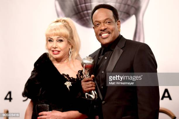 Charlie Wilson recipient of the Music Makes a Difference award and Mahin Wilson pose in the press room for the 49th NAACP Image Awards at Pasadena...