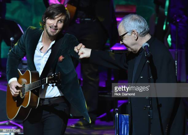 Charlie Worsham and Fred Knoblock perform during the Country Music Hall of Fame and Museum Medallion Ceremony to celebrate 2017 hall of fame...